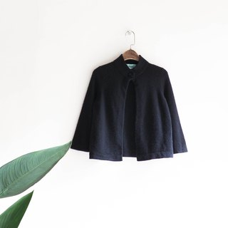 Kawashima - Tokushima pure black single button gentle girl antique Cashmere jacket cashmere coat vintage sweater cashmere vintage oversize