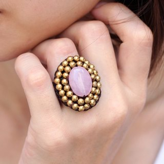 Rose Quartz Stone Woven Ring Oval Beaded Crochet Free Size Adjsutable