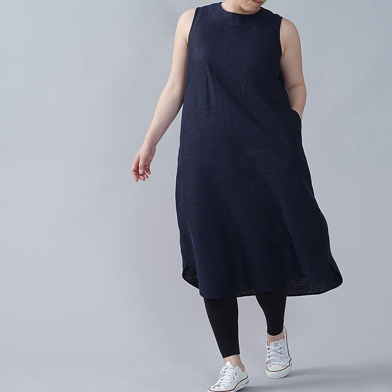 wafu --中等重量麻無袖連衣裙麻連衣裙不太開領下擺麻連衣裙後扣/海軍藍a069c-neb2