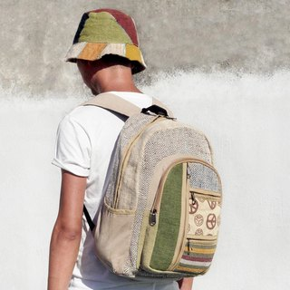 Christmas limited edition handmade cotton spliced ​​design backpack / shoulder bag / Ethnic mountaineering pack - grass green peace after ethnic backpack