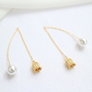 18kgf petal flower pearl romantic simple long drop earrings