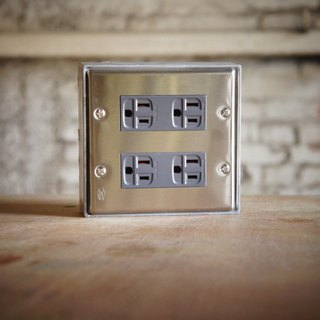 Edison-industry retro industrial style LOFT highest quality industrial socket (dark gray) regular size (two) (excluding metal box) stainless steel vintage white iron switch socket electric cover panel attached to the hole double plug