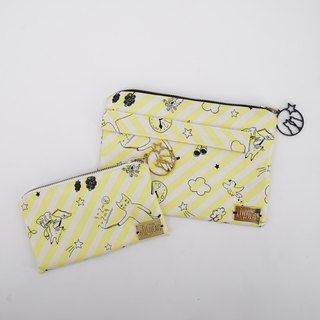 Christmas Gift Set: Pouch & Wristlet in Cats on Yellow Stripes