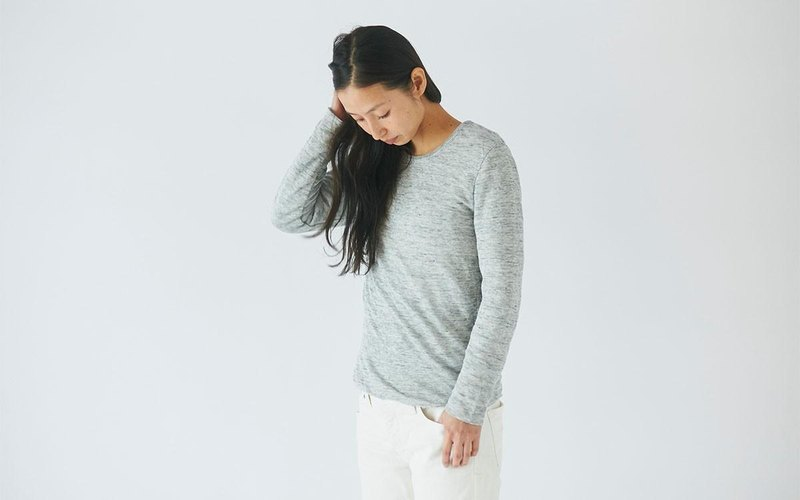 Linen knit women / S long sleeve pullover gray