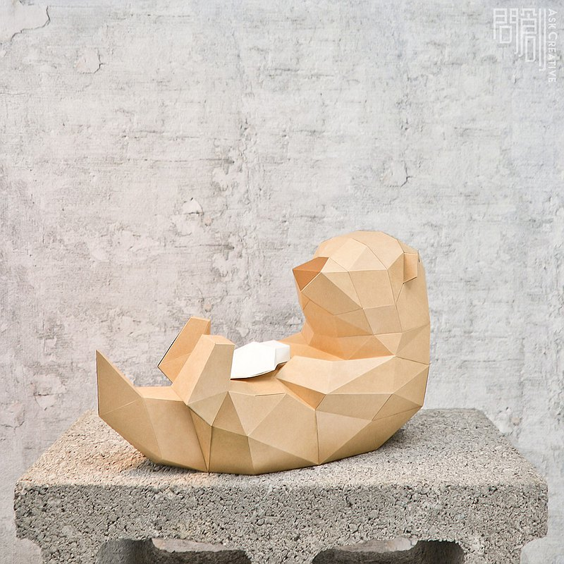 DIY手作3D紙模型擺飾 禮物 海洋 小動物系列 - 水獺
