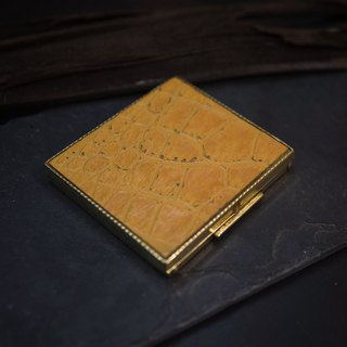 70s American Leather Antique Square Brass Box