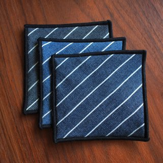 Denim Cowboy Coaster - Diagonal Stripe Tri-Color Combination