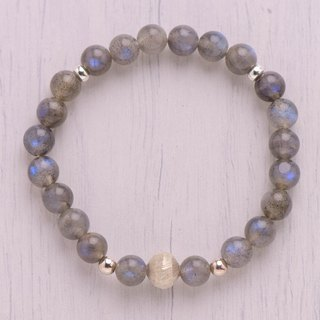Feldspar series. safely. Labradorite / gray body moonstone 8mm bracelet.