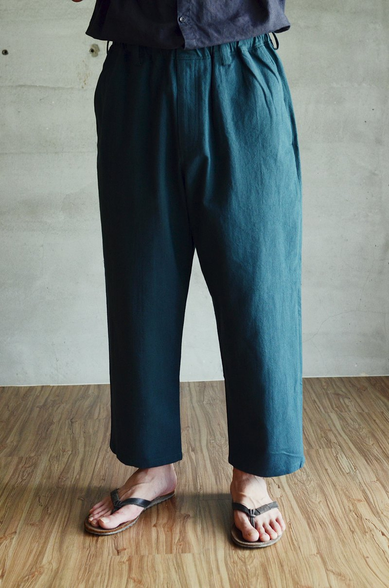 Washed cotton and linen wide pants