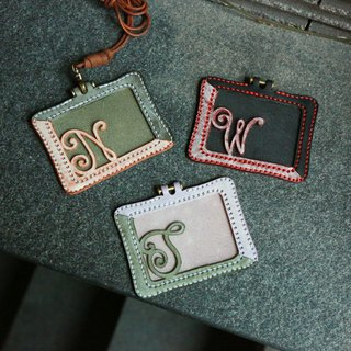 Crescent Hand-Stitched Initial Badge holder, Personalise, Mix and Match, Card