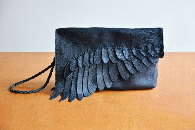 Fading Mist Leather Feather Clutch