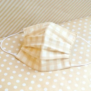 For Men | Natural handmade mask Gingham Beige | Reduce cloudiness of glasses