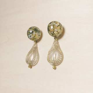 Vintage Pearl Gold Leaf Army Green Carving Drop Earrings