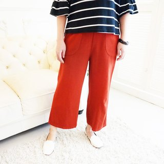 【柒 Wu eight 〇 MIT】 cotton double pocket Slim nine pants (autumn orange)