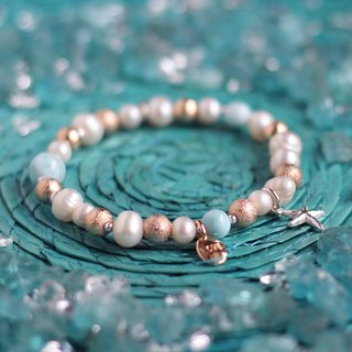 Sea pattern. Natural ore bracelet sea rhinestone (Lalima) natural pearl 925 sterling silver hand practice