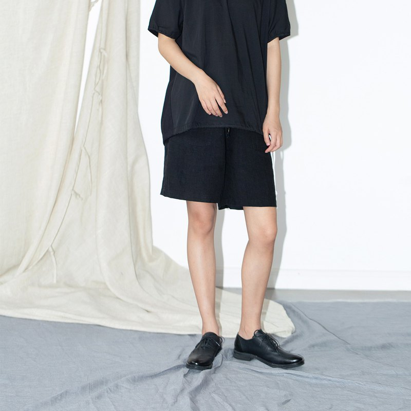HFCY/Good wind often has 2019 summer Japanese aesthetics black linen drawstring elastic waist loose casual shorts