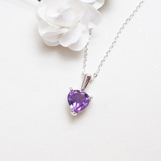 Last Limited Heart Shape Amethyst Pendant Necklace Hand Made Silver Silver925 Heart