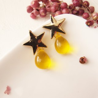 yellow. The things of the stars. Clip-on earrings, pin earrings