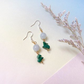 Puputraga Shangcai Caihua Life / Shen Hailan Bao Green Peacock Long Earrings