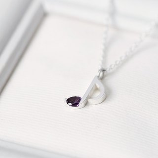 Amethyst Music Note Musical note necklace 925 Sterling Silver