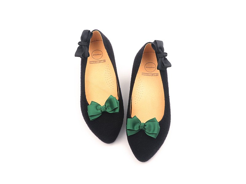 MIT [Paste Bowknot High Heels-Black/Green] Freely Paste Bowknot Devil Felt High Heels