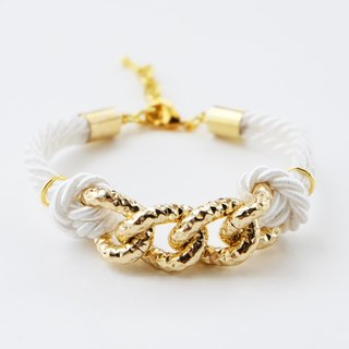 Gold chain & white cord bracelet