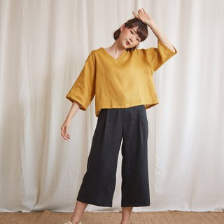 Natural Cropped Wide Leg Pants in Black Color