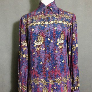 Time ancient [antique shirt / silk purple printing antique shirt] abroad back to VINTAGE