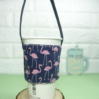 Dark blue flamingo green drink bag