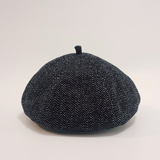 Wen Qing Fashion Pumpkin Hat - Herringbone Pattern (Black Gray White) #礼物#编织毛料#画家帽#贝蕾帽