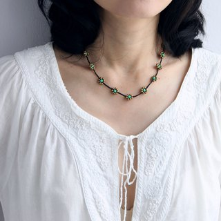 Beaded Necklaces Woven Braided Turquoise Brass Hippy Hipster Necklaces