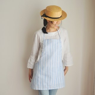 Linen Apron Summer Collection in Blue Stripe