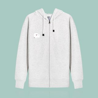 [Last] a small white dog angel face / pale heather gray sports jacket