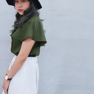 Story of the protagonist ─ retro short cape jacket // jungle green