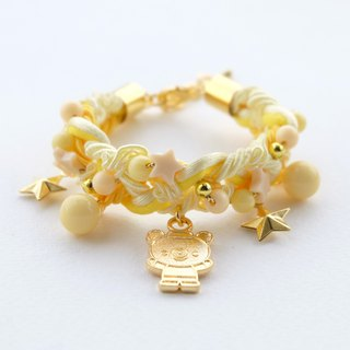 Golden teddy bear yellow braided bracelet