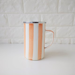 Pumpkin orange stripes 珐琅 mug