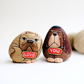 Dogs stone painting.
