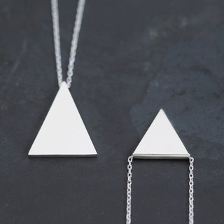 2 set) Triangle Pair Necklace Silver 925
