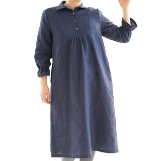 Warm linen cutaway front gathers one piece / navy a31-5