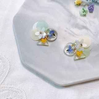 Flower Book Series-Ice Lime Aroma Hand Hand Drying Flower Embossed Ear Ear/Aurture