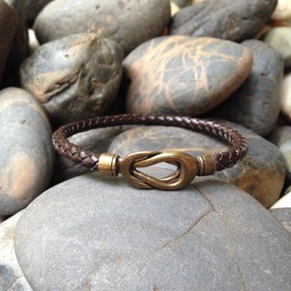 Weave Leather Bracelet with Infinite Antique Brass Clasp
