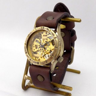 Handmade watch HandCraftWatch hand-rolled Brass Mens Arabic numerals GD / BR [BHW057]