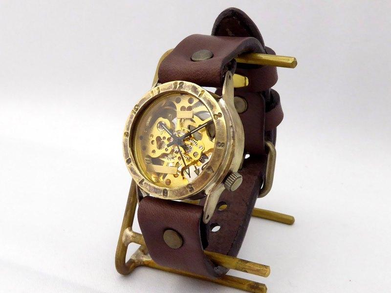 手工手錶HandCraftWatch手動上弦黃銅男士阿拉伯數字GD / BR BHW057