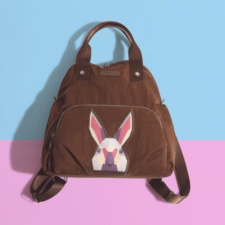 Khieng Atelier Diamond Rabbit back shell diamond rabbit backpack - brown earth