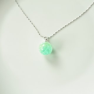 Sweet Dream ☆ ice crystal glass Silver Necklace / Bi-color green shoots