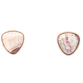 S925 Silver Plated Rose Gold With Natural Crazy Lace Agate Earing 01