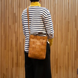 Vertical Woven Leather Shoulder Bag / Mesh Leather Shoulder Bag