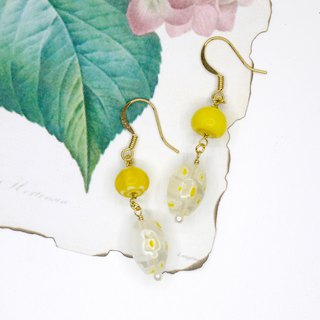[Riitta] glass yellow flower earrings (ear clip)