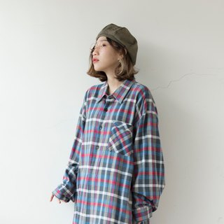 Blue red gray neutral color grid French long version pullover plaid shirt