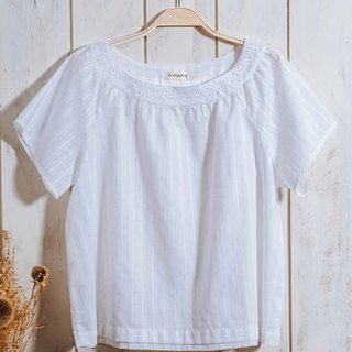 White textured wide blouse - lace, cotton